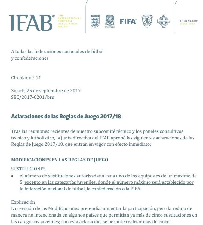 La IFAB aclara algunas de las dudas a las Reglas en la Circular nº 11
