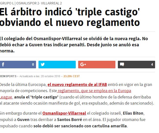 """La versión reducida del """"triple castigo"""" según el diario AS"""